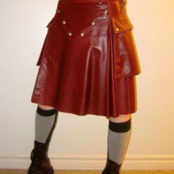 Modern Red Leather Kilt