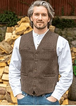 Wool Waistcoat Brown Herringbone